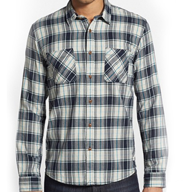 Blue and White Check Flannel Shirt
