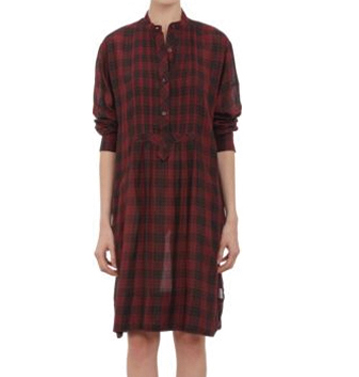 Maroon and Black Check Flannel Shirt Dress