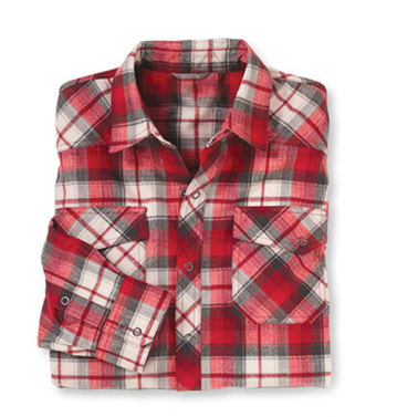 Red, White and Grey Check Flannel Shirt