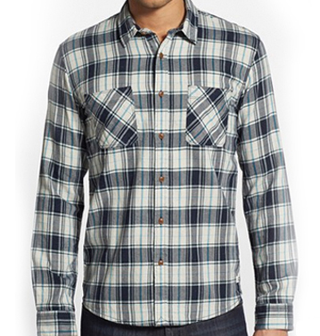 White and Blue Check Flannel Shirt