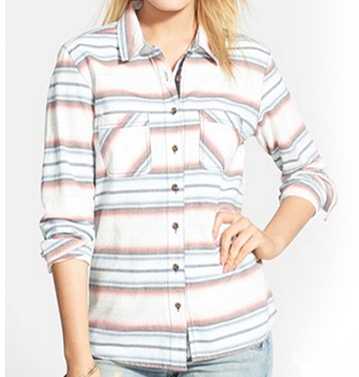 White, Mauve Check Flannel Shirt
