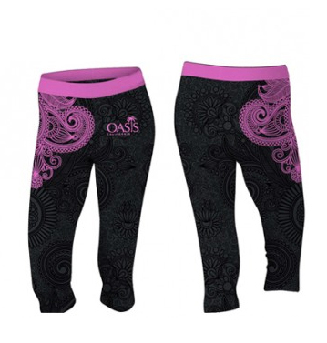 sublimated black purple floral capri