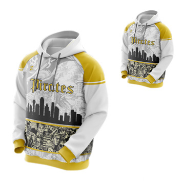 White and Yellow Striking Sublimated Hoodie